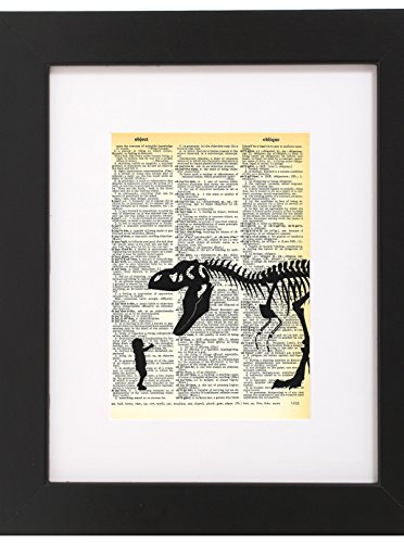 Dictionary Art Print Baby With Pet T Rex Printed On