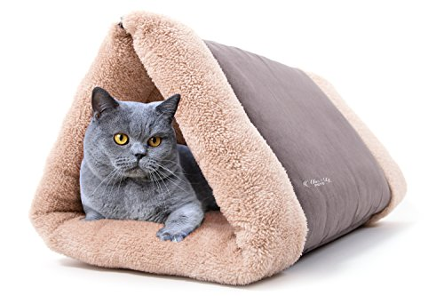 Cat Bed By Mar&ly Pets- Pet Bed 2 in 1 Tunnel or Flat Mat for Small Dog and Cat