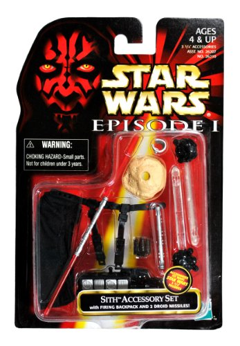 "Hasbro Year 1998 Star Wars Episode 1 ""The Phantom Menace"" Series 4 Inch Tall Action Figure Accessory Kit - SITH ACCESSORY SET with Cloak, Firing Backpack, 2 Probe Droid Missiles, Stand, Macrobinoculars, Wrist Comlink, Lightsaber and Lightsaber Handle (Figure is Not Included)"