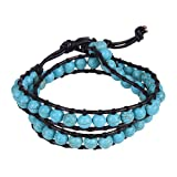 Trendy and Chic Unisex Turquoise Beads Wrap Genuine Leather Bracelet or Necklace