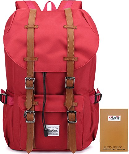 Kaukko Portable Outdoor Travel Hiking Backpack for Women with 2 Side Pouches (Nylon Red )