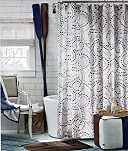 Tommy Hilfiger Fabric Shower Curtain Gray Charcoal Dots On White California Dot