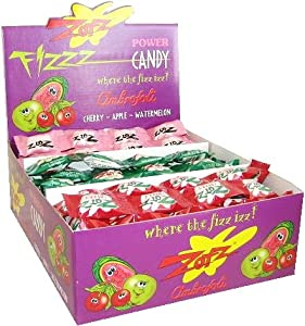 Zotz Fizz Sour Candy - Cherry,Watermelon, Apple (case of 48)