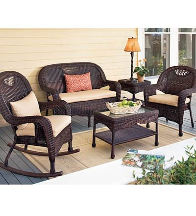Prospect Hill Weather-Resistant Outdoor Resin Wicker Dining Chair, Settee, End Table & Coffee Table, in Chocolate image
