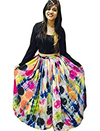 ECOLORS FAB Digital Printed Crepe Silk Multi-Colored Lehenga Choli For Women's (EC_1001_Lehenga Choli__Free Size)