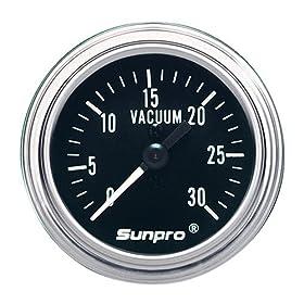 Sunpro CP7978 Mechanical Vacuum Gauge - Black Dial