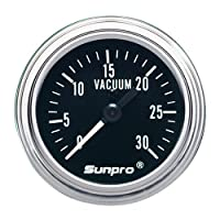 vacuum gauge, Sunpro, Sunpro CP7978 Mechanical Vacuum Gauge - Black Dial