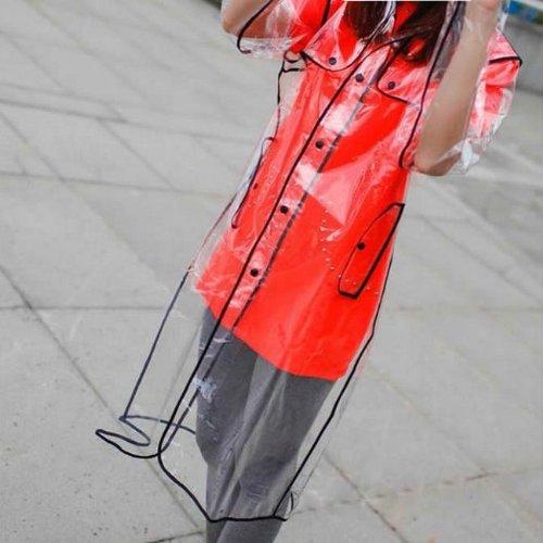 Hengsong Damen Herren Unisex Kurz / Lang Klar Transparente PVC Runway Jacke Regen-Mantel (41 inches)