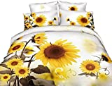 Coface 3D Luxury Modern Flower in Blossom Twilled Cotton Reactive Dyeing 4 Piece Bedding Sheet Set Sunflower