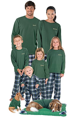 PajamaGram Flannel Tartan Plaid Matching Family Pajama Set, Women's Large / 12-14, Multicoloured
