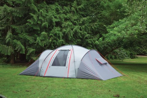 Outbound Vis-À-Vis 6 Person Tent (Steel/Cloud/Red Trim, Large)