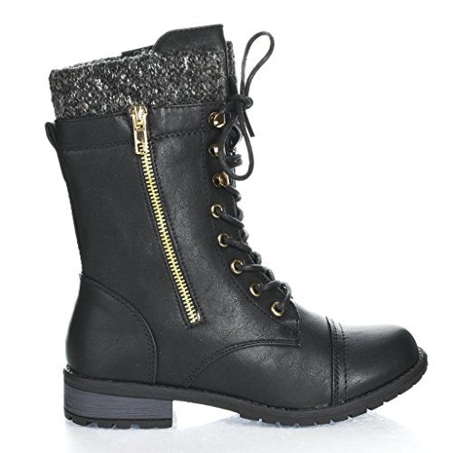 Forever Link Womens Mango-31 Round Toe Military Lace Up Knit Ankle Cuff Low Heel Combat Boots BLK 8.5