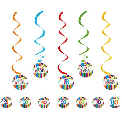 Creative Converting Bright and Bold 5 Count Dizzy Danglers Hanging Party Decorations