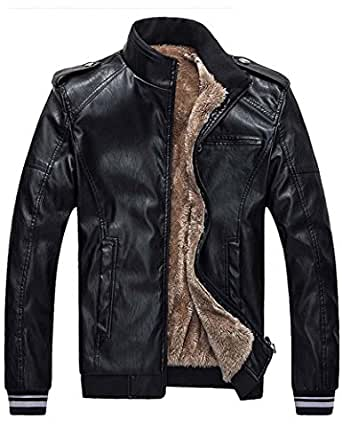 Moonwalk Mens Winter Faux Fur Lined PU Leather Bomber