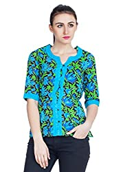 Zovi Cotton Multicolored Printed Waist Elastic Top (10599551601_Small)