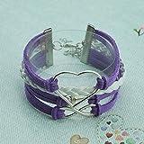 Real Spark Identification Love Figure eight Adjustable Length Anchor Wrap Bracelet (Purple)