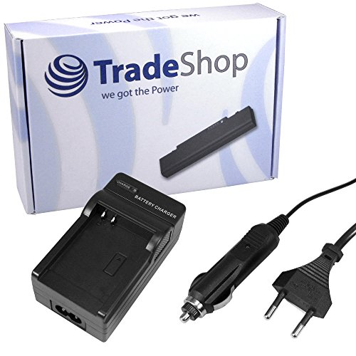 Trade-Shop Akku Ladegerät Lader mit Kfz Adapter für Samsung: Digimax U-CA UCA 3 4 5 401 505 oBandit GPS HD Helmkamera GPS HD Action Helmkamera Belkin Wifi Skype Phone Silvercrest DV5000 HD