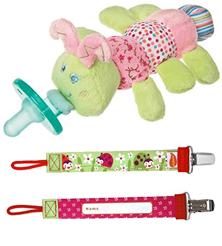 Cutsie Caterpillar Wubbanub and Ulubulu Lady B Pacifier Clip - 1