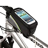 511NpX1jnIL. SL160  Roswheel Cycling Bike Bicycle Frame Pannier Front Top Tube Bag X Large Waterproof for iPhone Samsung 5.5 inch Mobile Cell Phone Green Black