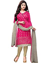 M Fab Ethnic Embroidered And Printed Pink Chanderi Cotton Free Size Straight Chudidar Salvar Suit UnStitched Dress Material