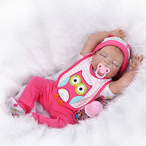 SanyDoll Reborn Baby Doll Soft Silicone vinyl 22 inch 55 cm Lovely Lifelike Cute Baby Boy Girl Toy Peach red suit sleeping doll