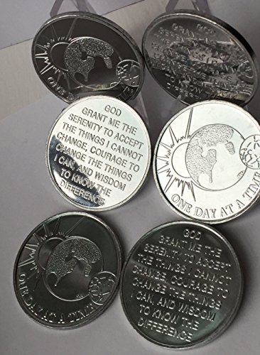 set-of-6-aluminum-universe-one-day-at-a-time-earth-sun-serenity-prayer-aa-medallions-sobriety-chips