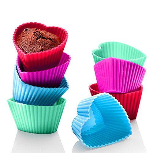 Premium Reusable Mini Silicone Baking Cups Cupcake Liners Muffin Cake Molds Sets 12 pack Heart Shape