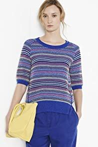 Short Sleeve Jacquard Multi Color Sweater