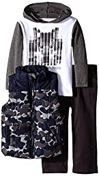 Calvin Klein Baby Boys\' Printed Puffy Vest with Tee and Pants, Multi, 24 Months