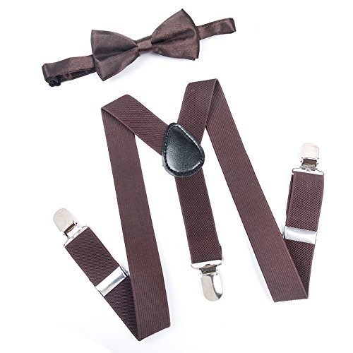 ELENKER Kids Baby Elastic Adjustable Suspenders and Pre Tied Bowtie (30