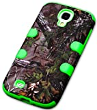 myLife (TM) Lime Green - Tree Camouflage Design (3 Piece Hybrid) Hard and Soft Case for the Samsung Galaxy S4