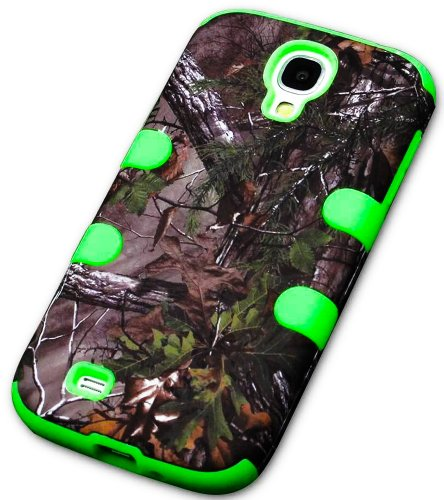"Mylife (Tm) Lime Green - Tree Camouflage Design (3 Piece Hybrid) Hard And Soft Case For The Samsung Galaxy S4 ""Fits Models: I9500, I9505, Sph-L720, Galaxy S Iv, Sgh-I337, Sch-I545, Sgh-M919, Sch-R970 And Galaxy S4 Lte-A Touch Phone"" (Fitted Front And Back"