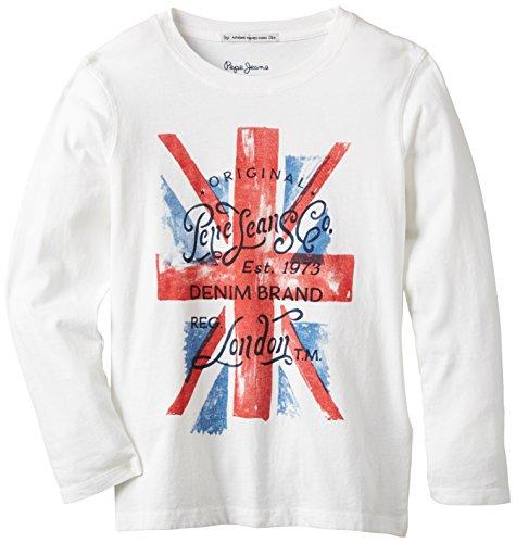 Pepe Jeans Jungen T-Shirt, TAREL, GR. 176 (Herstellergröße: 16 ans), Weiß (Off White)