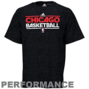 NBA adidas Chicago Bulls On-Court Practice Performance T-Shirt - Charcoal by adidas