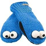 Sesame Street - Unisex-Child - Cookie Monster Head Kids Knit Mittens Blue
