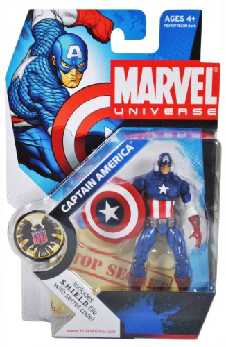 Marvel Universe Year 2008 Single Pack 4 Inch Tall Action Figure - CAPTAIN AMERICA with Shield Plus Bonus S.H.I.E.L.D File with Secret Code