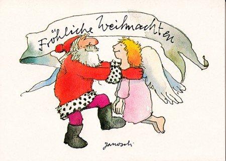 Janosch WeihnachtsPOSTkarte Weihnachtsmann tanzt mit Engel II