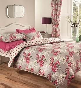 Grey Pink Red White King Size Duvet Set With Matching Curtains 66 X 72 Sheet
