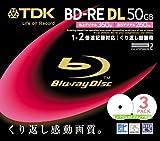 TDK 録画用ブルーレイディスク 50GB BD-RE(繰り返し録画用) 2X ホワイトワイドプリンタブル 10mmケース 3枚パック BEV50PWA3S