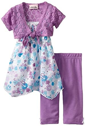 Little Lass Baby-Girls Infant 3 Piece Skimp with Flowers, Purple, 12 Months