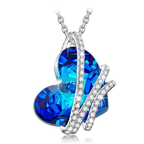 Blue Heart Swarovski Pendant Necklace