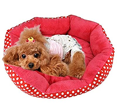 Polka Dot Round Shape Soft Pet Warm Basket Dog Bed Plush Cat Puppy Bed (M, red)