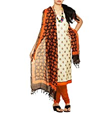 Unnati Silks Women Unstitched cream-orange pure Jute khadi sico salwar kamiz dress material