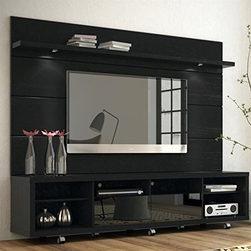 "Manhattan Comfort Cabrini 70"" TV Stand & Floating Wall TV Panel 2.2, Black Gloss/Black Matte, 85.8Lx17.5Wx73H"