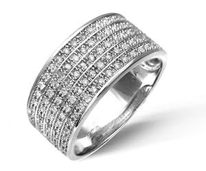 Bague Femme - Or Blanc 375/1000 (9 Cts) 4 Gr - Diamant - T 49