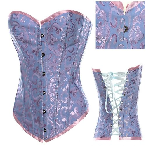 Pink and Blue Floral Brocade Fashion Corset M