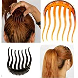 2Pc Elegant Magic BUMP IT UP Volume Inserts Hair Clip for Bun Maker Clip Donut ponytail Bumpits Bouffant Do Beehive Dish Styles Hair Comb Pads Base Foam Hair Maker Braid Ponytail Hairstyle Hairdisk Styling Design Beauty Tool Fashion Accessory (ponytail comb)