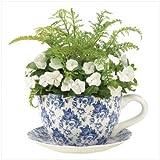 Gifts & Decor Blue Floral Teacup Saucer Decorative Garden Planter