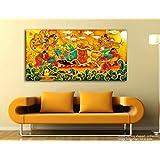 Tamatina Kerala Mural Canvas Paintings - Vishnu Avatar - Sri Krishna - Traditional Canvas Paintings - 5ft X 2.5 Ft.