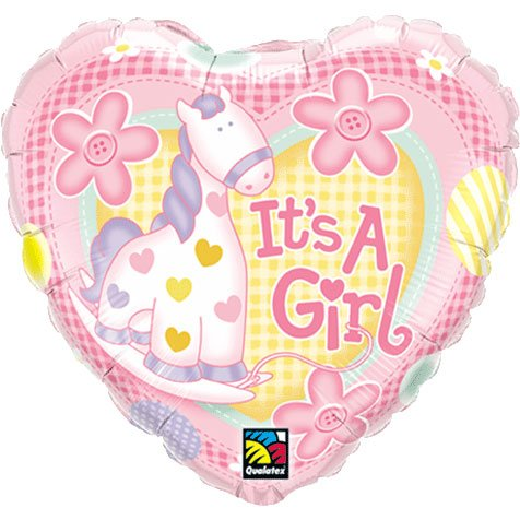 "Pioneer Balloon Company It's A Girl Soft Pony Foil Balloon, 18"", Multicolor"